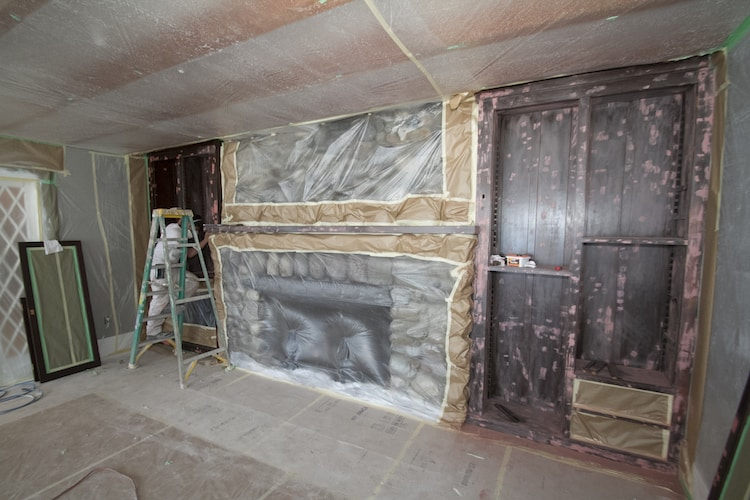 Stone Fireplace and Bookshelf in Progress